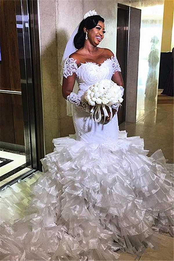 Short sleeves Off-the-shoulder White Mermaid Wedding Dresses with Ruffle Train