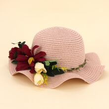 Girls Flower Decor Straw Hat
