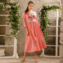 Floral Embroidery Surplice Front Dress