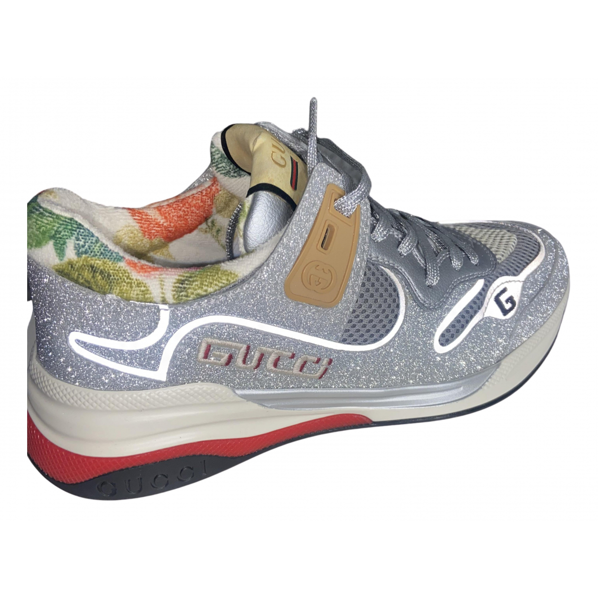 Gucci Ultrapace Sneakers in  Grau Mit Pailletten