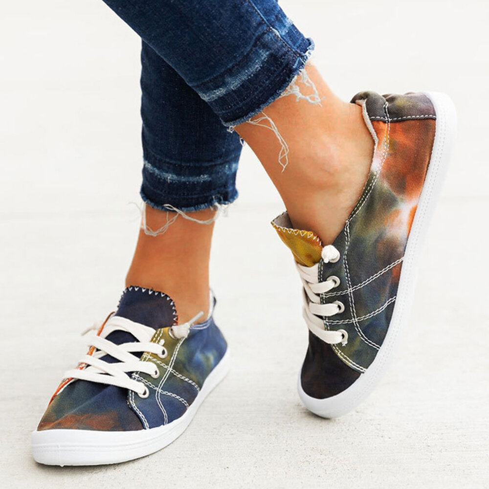 Large Size Women Comfy Low Top Lace Up Casaul Tie-dye Canvas Shoes