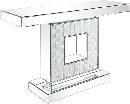 Nasa Collection 90500 Console Table  Occasional Tables  No Storage  Mirrored Top  Mirrored Pedestal w/Mother of Pearl Chequered Pattern  in Mirrored