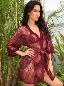 Floral Lace Lingerie Set With Belted Robe
