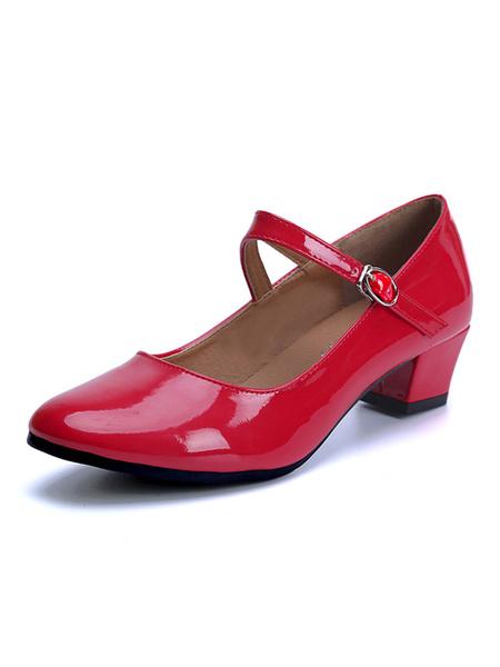 Milanoo Zapatos de baile de caracter Zapatos de baile de salon de tacon grueso con punta redonda roja para niños