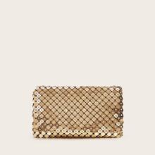 Strass Dekor Metallic Clutch Bag