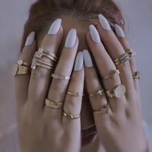 17 piezas anillo con diamante de imitacion