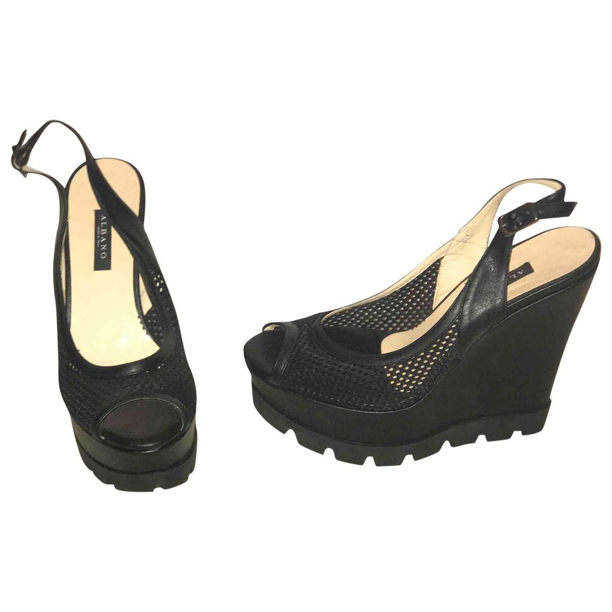 Albino - Sandales   pour femme en toile - noir
