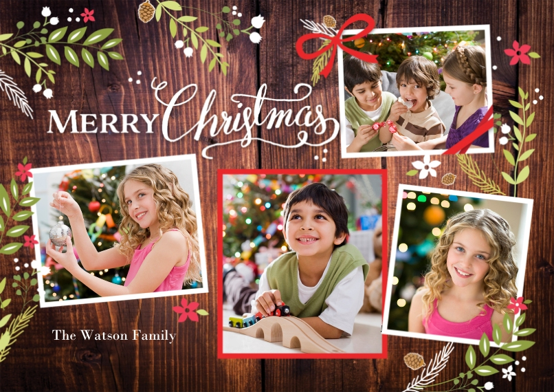 Christmas Photo Cards Flat Matte Photo Paper Cards with Envelopes, 5x7, Card & Stationery -Christmas Rustic Floral Frame Snapshots