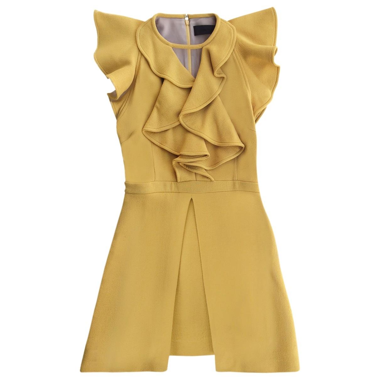 - Robe Epaulettes pour femme en laine - jaune