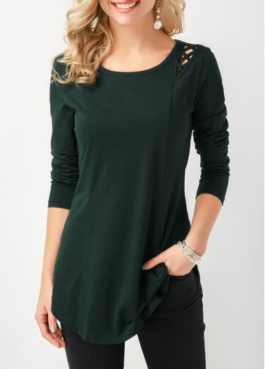 Women'S Dark Green Curved Hem Lace Up Long Sleeve T Shirt Solid Color Longline Tunic Casual Top By Rosewe - XXL