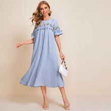 Embroidered Floral and Bird Yoke Tassel Detail Pleated Dress