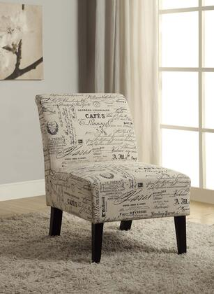 98320SCRPT01U Promo Lily Collection Accent Chair with Eucalyptus Wood Frame and Linen Upholstery in Script