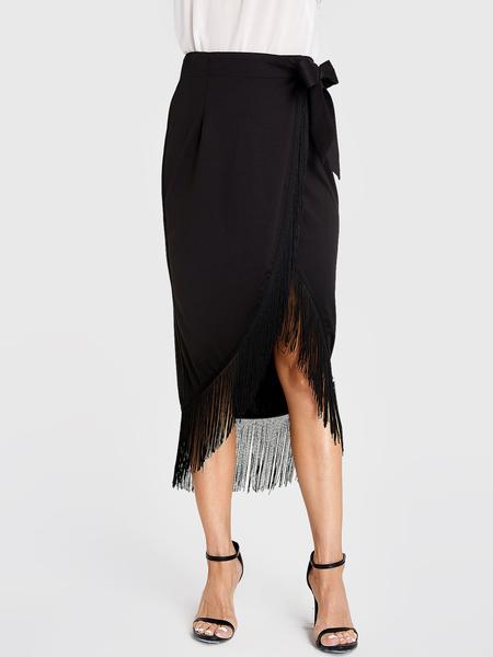 YOINS Black Bowknot Tassel Hem Skirt