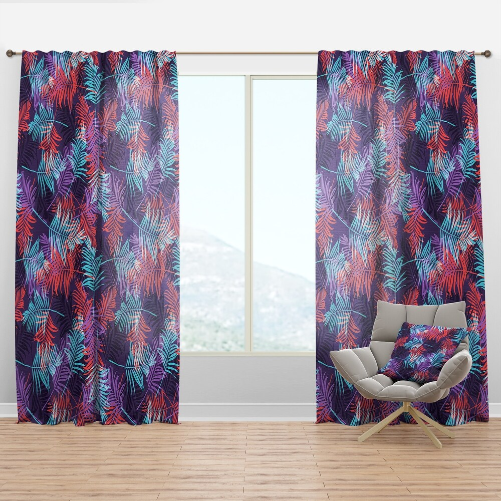 Designart 'Tropical Palm Leaves Pattern' Tropical Curtain Panel (50 in. wide x 95 in. high - 1 Panel)