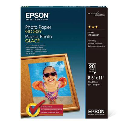 EPSON S041141 20 Sheets Photo Paper, Glossy, 8.5
