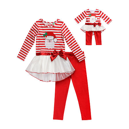 Dollie And Me Little Girls Legging Set, 4 , Red