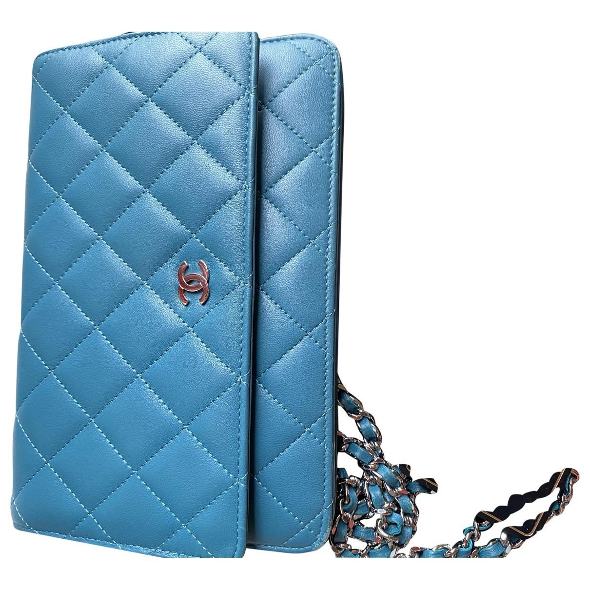 Chanel Wallet on Chain Handtasche in  Tuerkis Leder