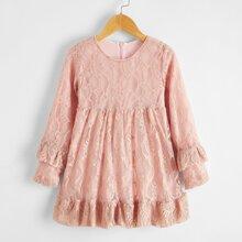 Toddler Girls Solid Zip Back Ruffle Hem Lace Smock Dress
