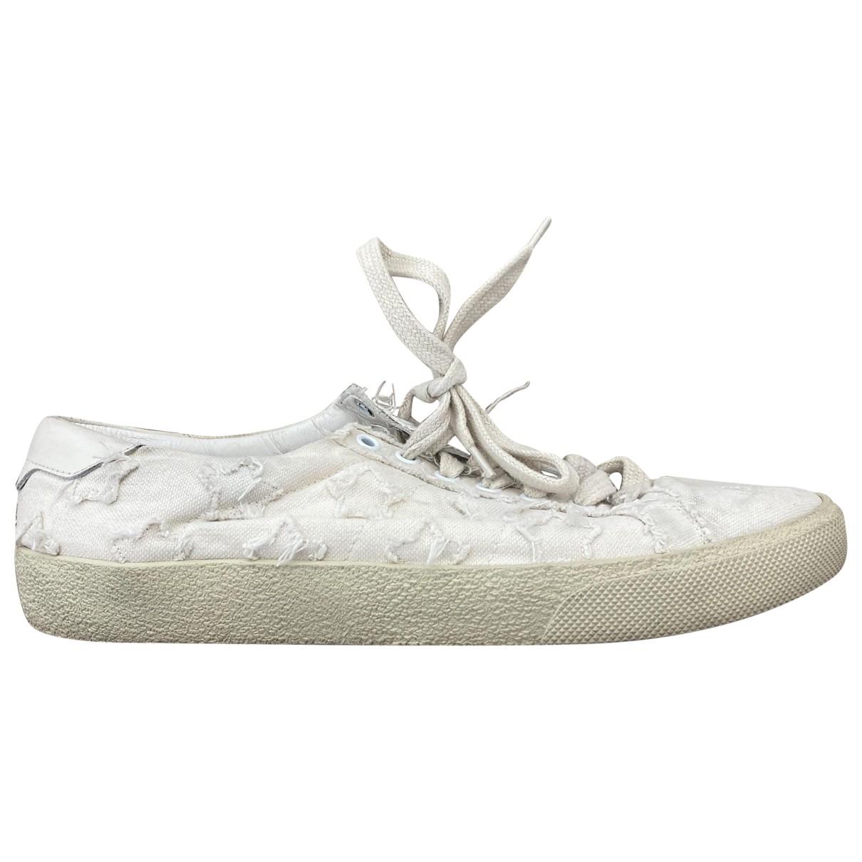 Saint Laurent Court White Cloth Trainers for Women 40.5 EU