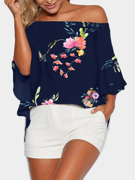 Yoins Navy Random Floral Print Off Shoulder Slit Blouse