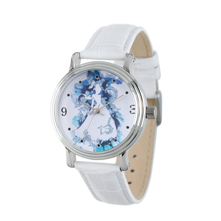 Disney Cinderella Womens White Leather Strap Watch-Wds000179, One Size , No Color Family