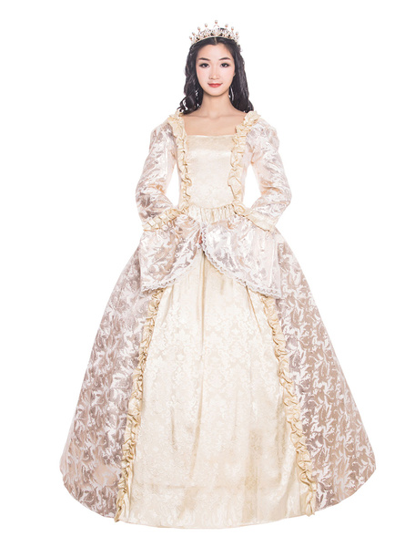Milanoo Victorian Dress Costume Women's Beige Retro Ruffle Matte Satin Long Sleeves Victorian Era Style Floral Print Dress Women Vintage Clothing