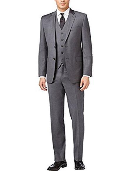Slim Skinny European fit Vest 3Pieces Gray Notch Lapel Side Vent Suit