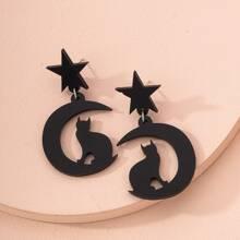 Cat & Moon Charm Drop Earrings