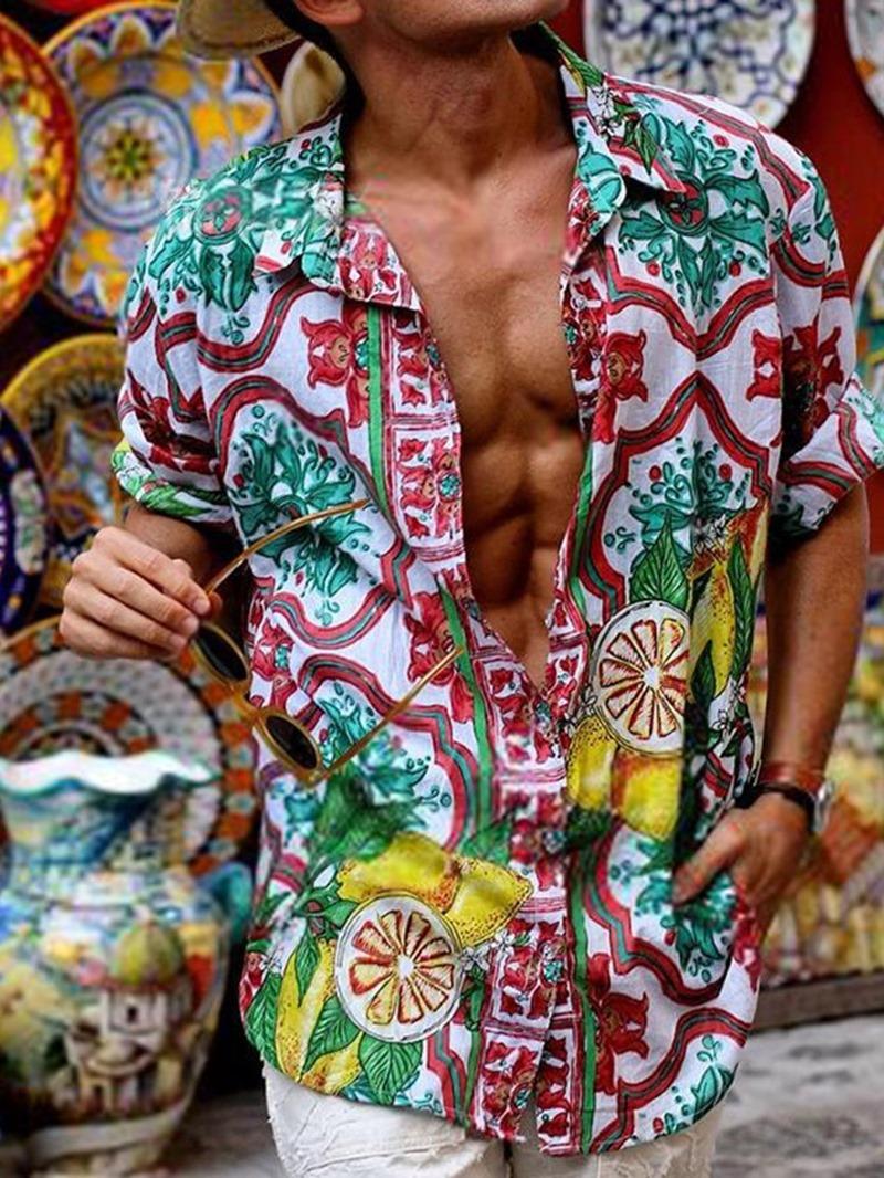 Ericdress Casual Print Lapel Loose Shirt