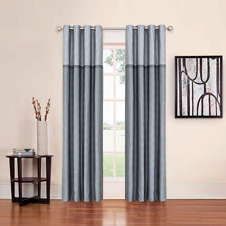 Eclipse Arno Blackout Grommet-Top Single Curtain Panel, One Size , Gray