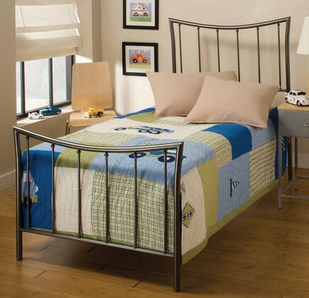 Edgewood 1333BTWR Twin Sized Bed with Headboard  Footboard  Frame and Tubular Steel Construction in Magnesium Pewter