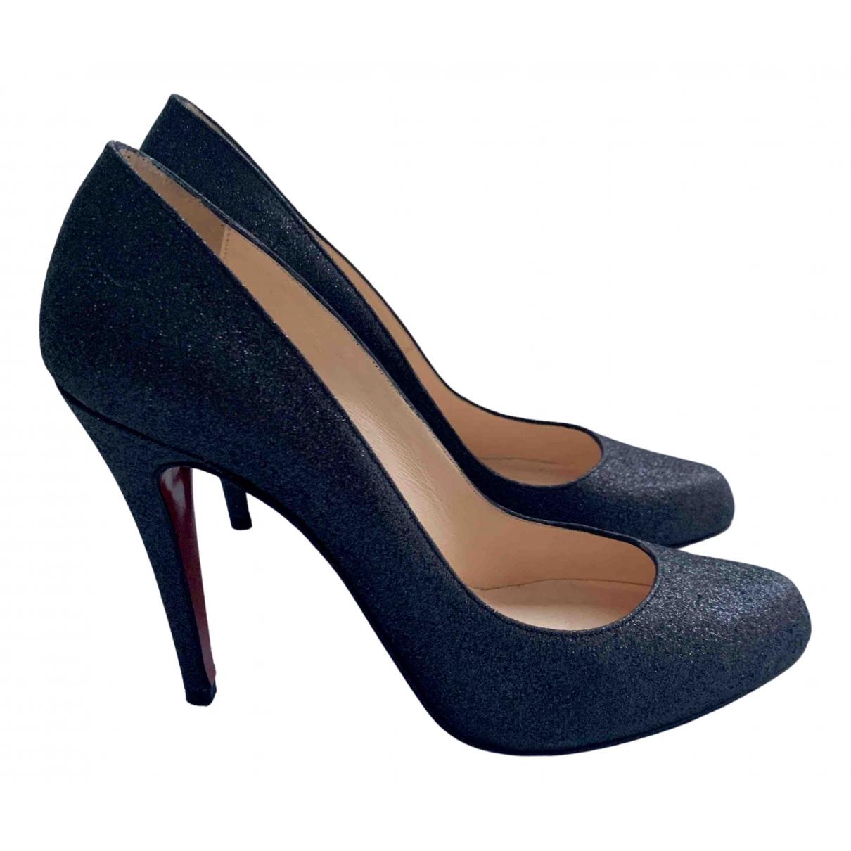 Christian Louboutin Bianca Black Glitter Heels for Women 39.5 EU