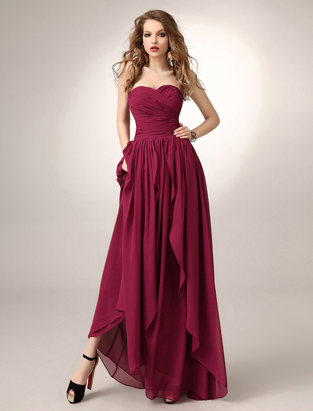 Milanoo Floor-Length Burgundy A-line Ruched Chiffon Bridesmaid Dress with Sweetheart Neck
