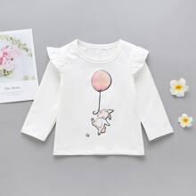 Toddler Girls Balloon And Rabbit Print Tee