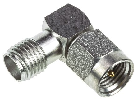 TE Connectivity Right Angle 50Ω RF Adapter SMA Plug to SMA Socket 12.4GHz