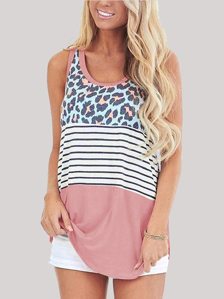 Yoins Crew Neck Striped Patchwork Leopard Sleeveless Cami