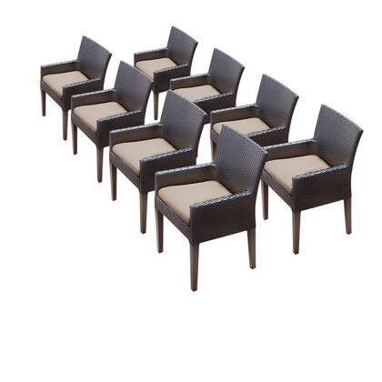 TKC097b-DC-4x-C-WHEAT 8 Napa Dining Chairs With Arms with 2 Covers: Wheat and