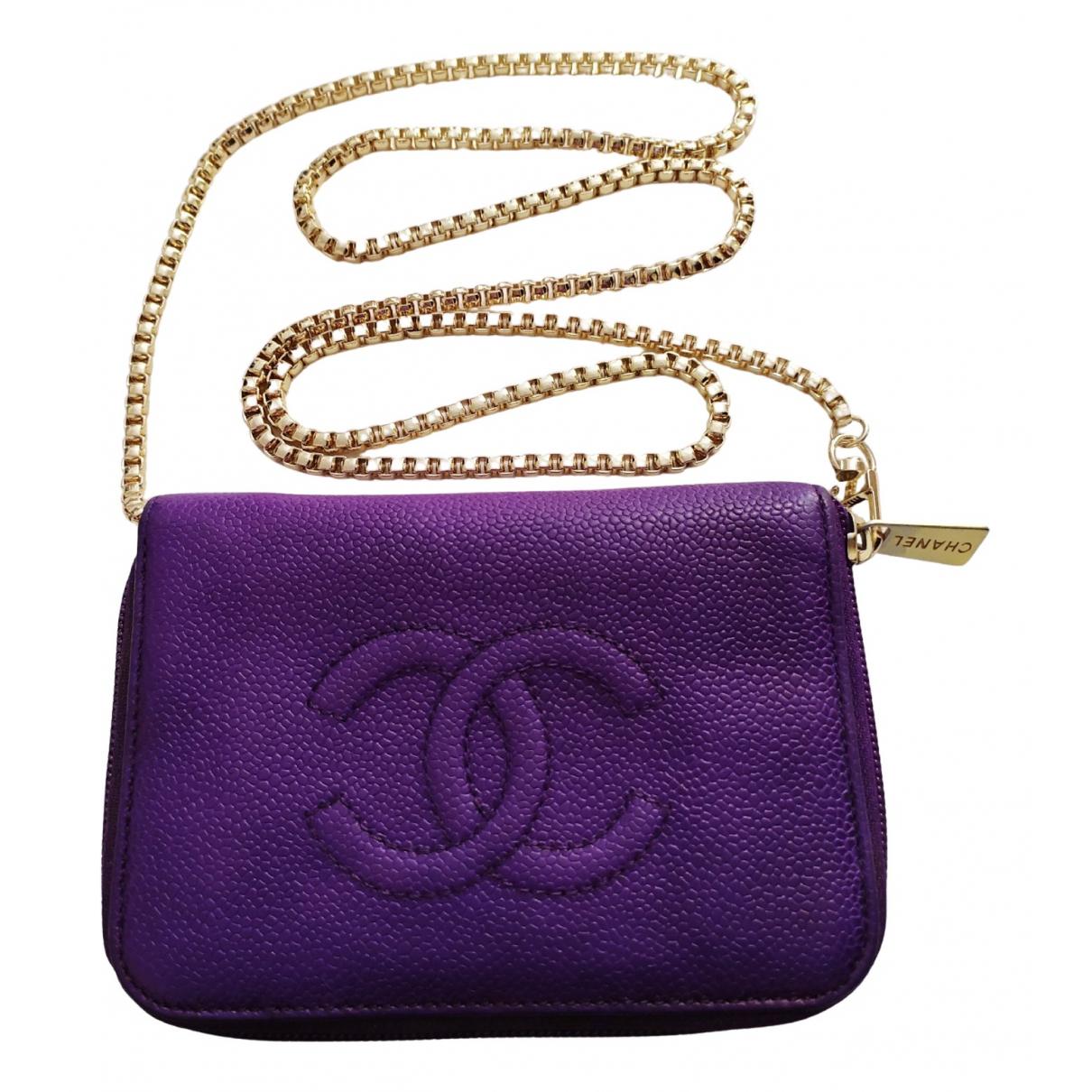 Chanel - Portefeuille   pour femme en cuir - violet