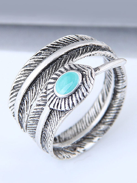 Milanoo Boho Silver Ring Open Leaf Birthday Gift Jewelry