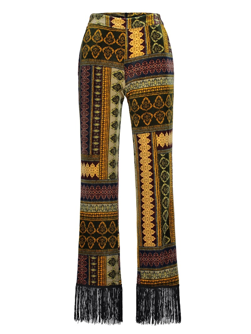 Ericdress Slim Geometric Print Women's Bellbottoms
