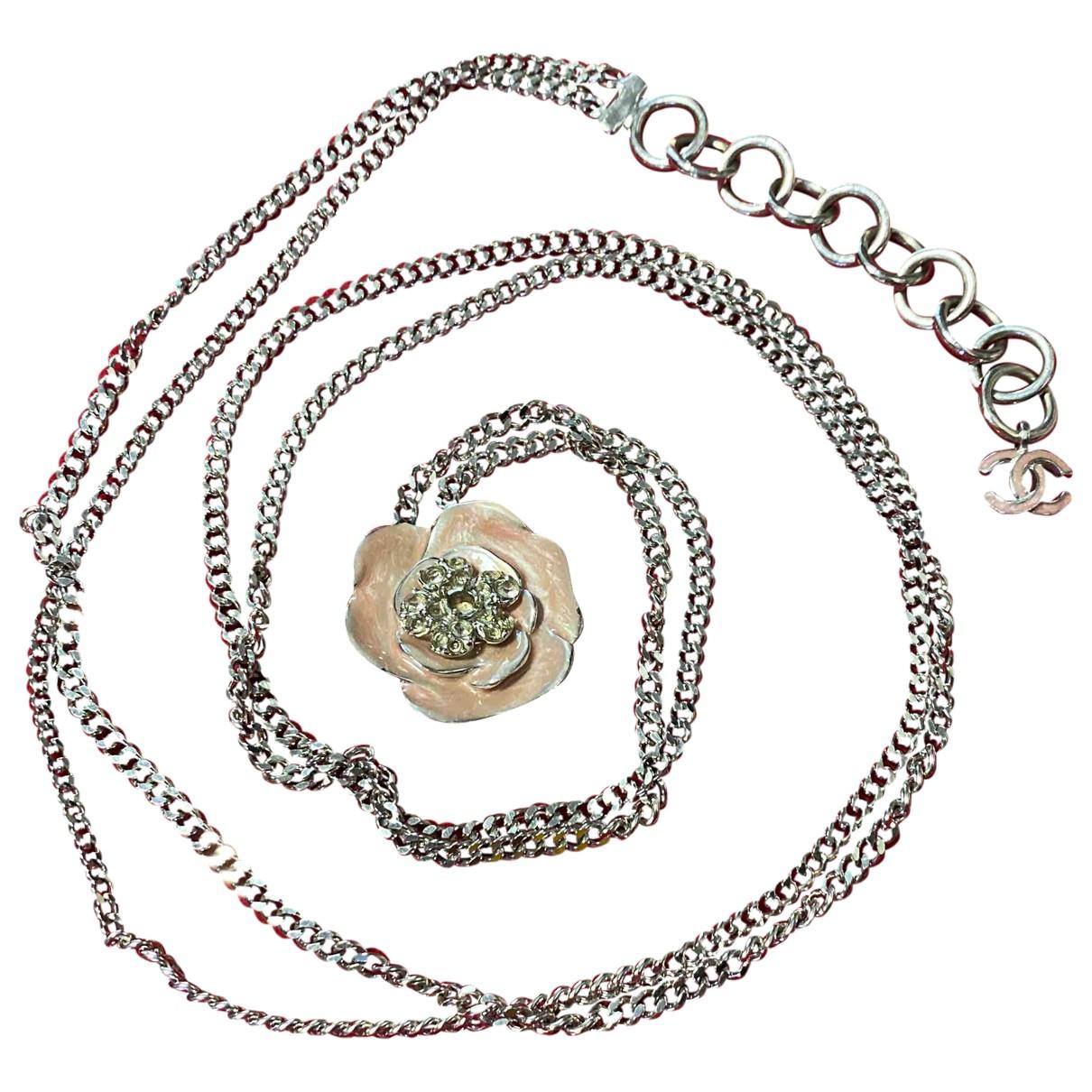 Chanel - Sautoir Camelia pour femme en metal - argente