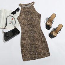Kleid mit Leopard Muster und Neckholder