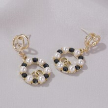 Faux Pearl Decor Drop Earrings