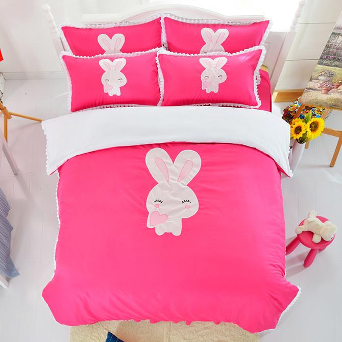 Cute Rabbit Print Rose Red Girls 3-Piece Duvet Cover Sets