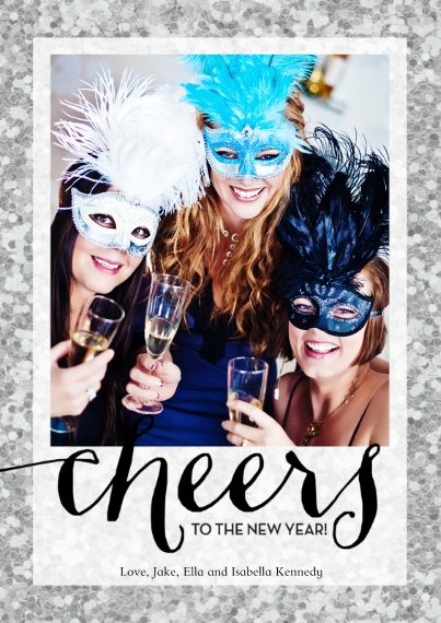 New Year's 5x7 Cards, Standard Cardstock 85lb, Card & Stationery -Sparkling Cheers by Posh Paper