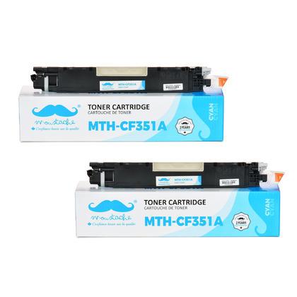 Compatible HP 130A CF351A Cyan Toner Cartridge - Moustache - 2/Pack