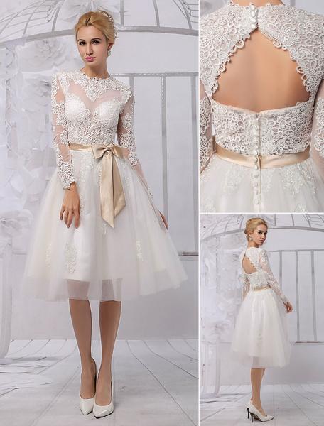 Milanoo Knee Length Lace Illusion Neckline Long Sleeves Back Keyhole Wedding Dress With Satin Sash
