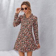 Vestido camisa con estampado floral ribete fruncido
