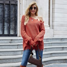 Asymmetrical Neck Distressed Oversized Sweater
