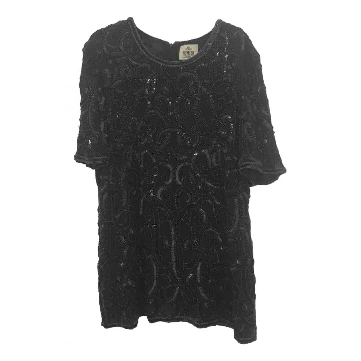 - Top Oversize pour femme en soie - noir